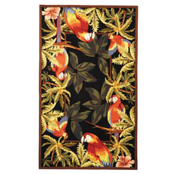 Hand-hooked Parrots Black Wool Rug (2'9 x 4'9)