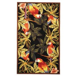 Safavieh Hand-hooked Parrots Black Wool Rug (7'9 x 9'9)