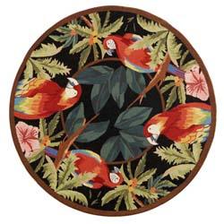 Safavieh Hand-hooked Parrots Black Wool Rug (4' Round)
