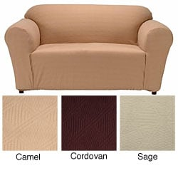 Double Diamond Textured Fabric Loveseat Slipcover