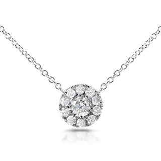 Annello 14k White Gold 1/3ct TDW Round Diamond Halo Necklace (H-I, I1-I2)