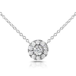 Annello 14k White Gold 1/3ct TDW Round Diamond Halo Necklace (H-I, I1-I2)
