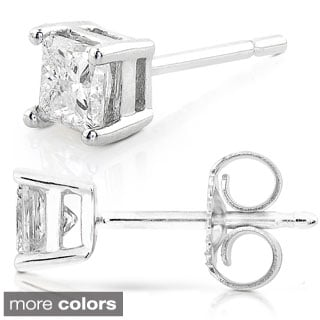 Annello 14k Gold 1/2ct TDW Princess-cut Diamond Stud Earrings (G-H, SI1-SI2)
