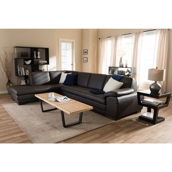 Angela Dark Brown 2-piece Leather Sectional Sofa