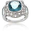 Icz Stonez Sterling Silver Caribbean Mist and Cubic Zirconia Square Ring