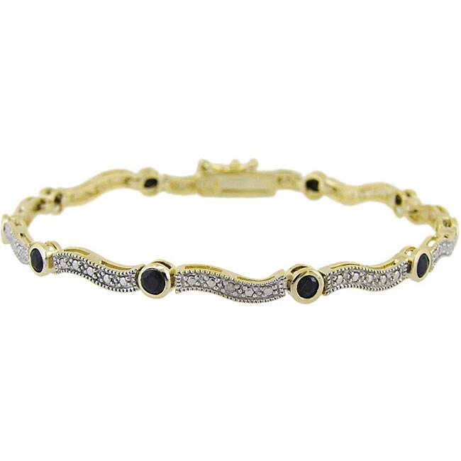 Glitzy Rocks 18k Gold over Sterling Silver Sapphire and Diamond Wave Bracelet