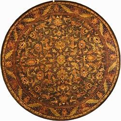 Safavieh Handmade Antiquities Kerman Charcoal Green Wool Rug (8' Round)