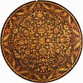 Handmade Antiquities Kerman Charcoal Green Wool Rug (8' Round)