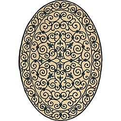 Hand-hooked Iron Gate Ivory/ Navy Blue Wool Rug (4'6 x 6'6 Oval)