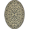 Hand-hooked Iron Gate Ivory/ Navy Blue Wool Rug (7'6 x 9'6 Oval)