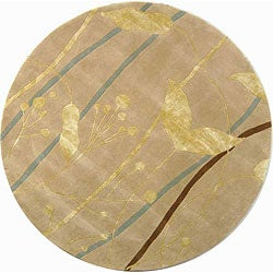 Handmade Rodeo Drive Parad Ivory/ Gold N.Z. Wool Rug (7'9 Round)
