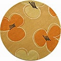 Handmade Soho Daisy Gold New Zealand Wool Rug (6' Round)