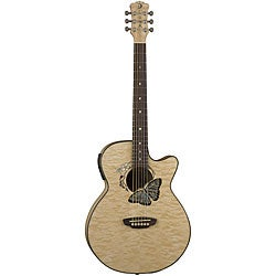 Luna Fauna Butterfly Acoustic/Electric Cut-away Folk Guitar