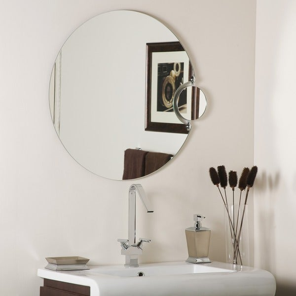 Frameless Wall Mirror with Magnifying Side Mirror