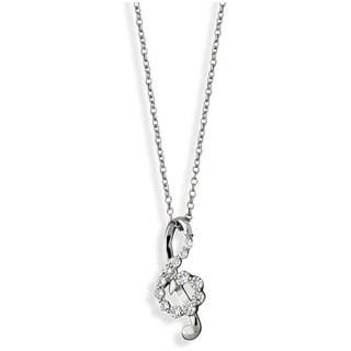 Nexte Silvertone Cubic Zirconia Treble Cleft Necklace