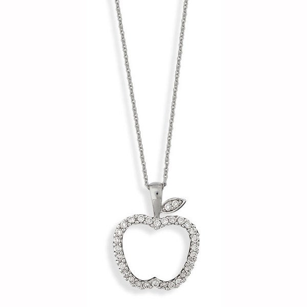 Nexte Silvertone Cubic Zirconia 'Original Sin' Apple Necklace