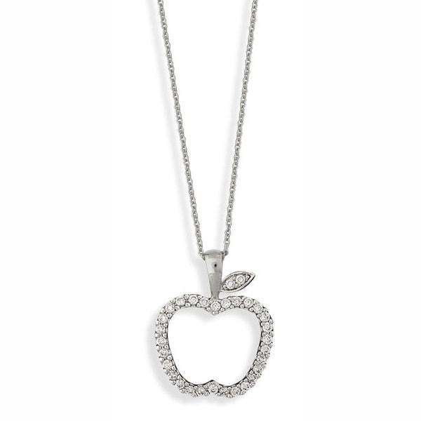 Nexte Silvertone Cubic Zirconia 'Original Sin' Apple Necklace