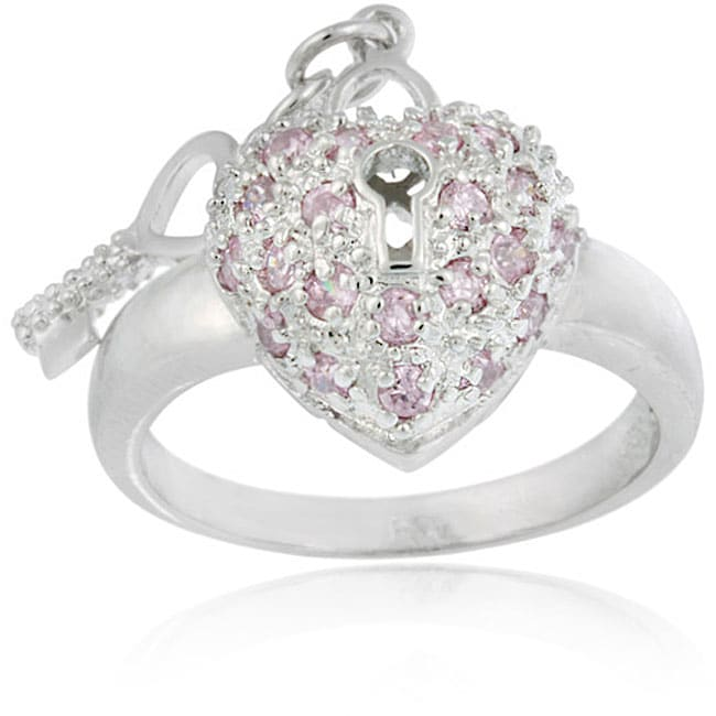 Icz Stonez Sterling Silver Pink CZ Heart and Key Ring