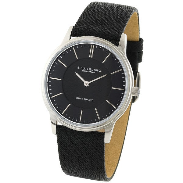 Stuhrling Original Unisex Newberry Black Leather Strap Watch