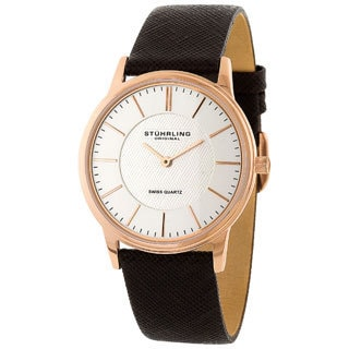 Stuhrling Original Newberry Unisex Brown Leather Strap Watch