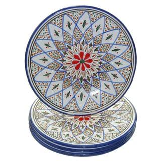 Set of 4 Tabarka Design 11-inch Dinner Plates (Tunisia)