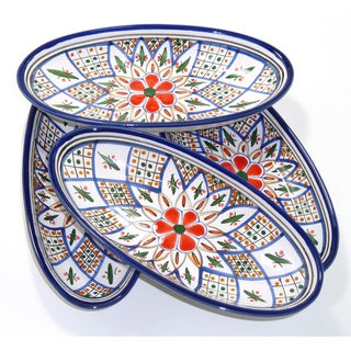 Set of 4 Tabarka Design 9-inch Small Oval Platters (Tunisia)