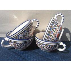 Set of 4 Tabarka Design 5-inch Latte/ Soup Mugs (Tunisia)