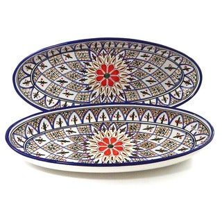 Set of 2 Tabarka Design Large Oval Platters (Tunisia)