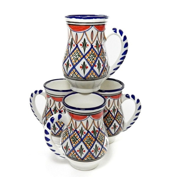 Set of 4 Tabarka Design Large Coffee Mugs (Tunisia)