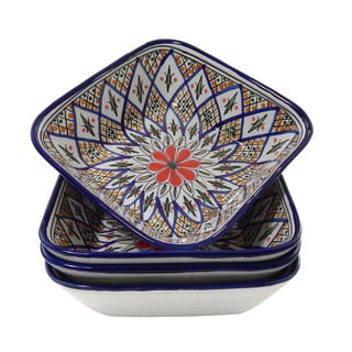 Set of 4 Tabarka Design 8-inch Square Bowls (Tunisia)