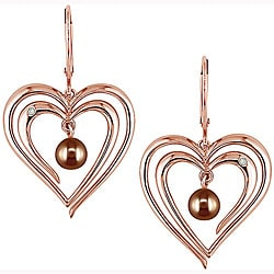 Miadora 10k Pink Gold FW Brown Pearl Diamond Earrings