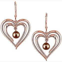 Miadora 10k Pink Gold FW Brown Pearl Diamond Earrings
