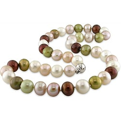 Miadora Sterling Silver Multi-color FW Pearl Necklace (9-10 mm)