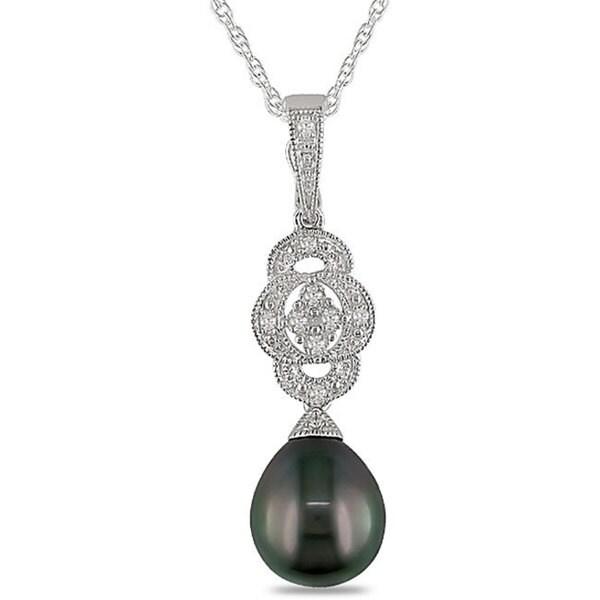 Miadora Silver Black Tahitian Pearl and Diamond Accent Necklace (9-10 mm)