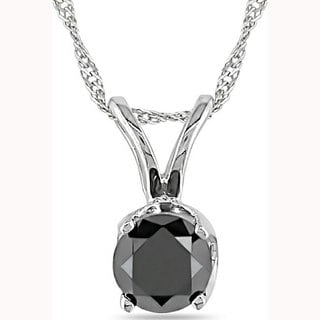 14k White Gold 1/3ct TDW Black Diamond Solitaire Necklace