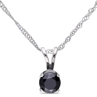 Miadora 14k Gold 1/2ct TDW Black Diamond Solitaire Necklace