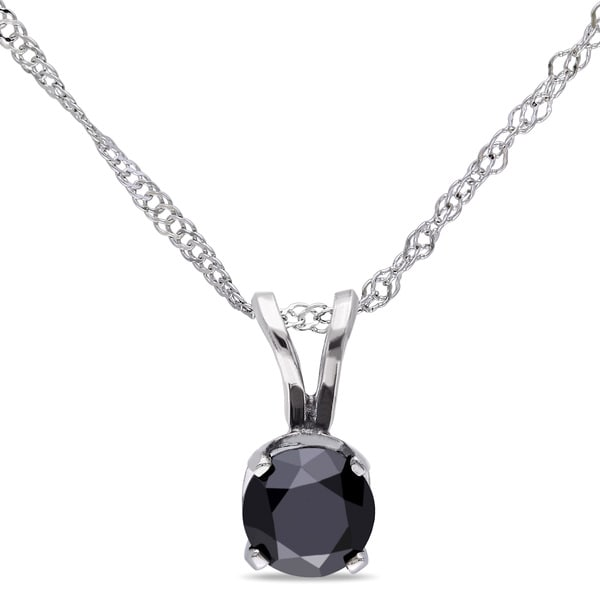 14k Gold 1/2ct TDW Black Diamond Solitaire Necklace