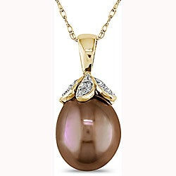 Miadora 10k Gold FW Brown Rice Pearl and Diamond Necklace (9-10 mm)