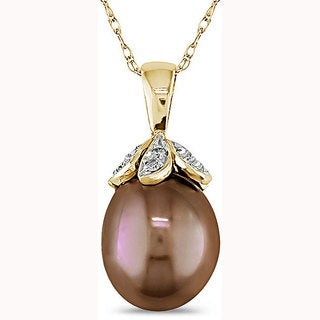 Miadora 10k Gold Brown Rice Cultured Freshwater Pearl and Diamond Necklace (9-10 mm)