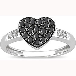 Miadora 10k White Gold 1/3ct TDW Black and White Diamond Ring (I-J, I2)