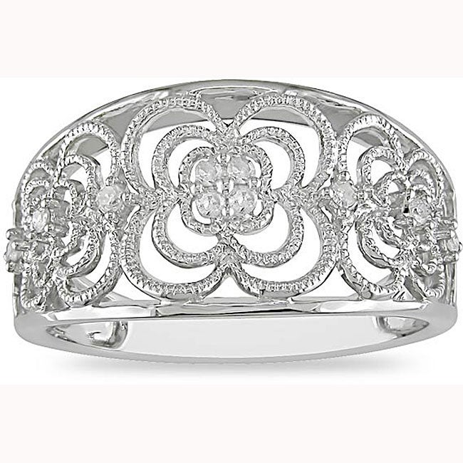 Miadora 10k White Gold 1/10ct TDW Diamond Anniversary Ring