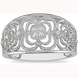 Miadora 10k White Gold 1/10ct TDW Diamond Anniversary Ring