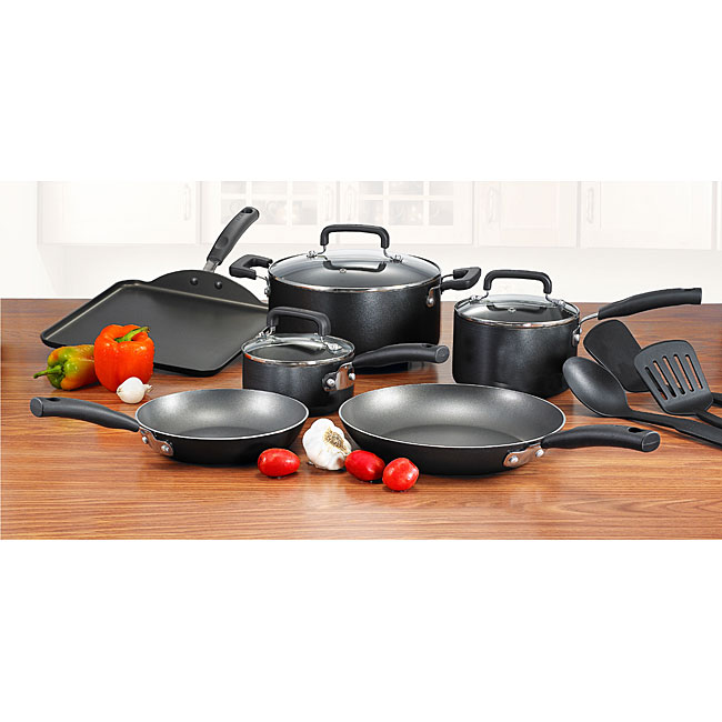 T-fal Black Signature Nonstick 12-piece Cookware Set