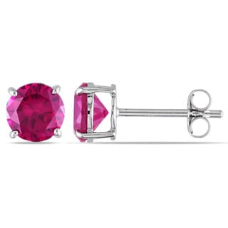 Miadora 10k Gold Created Pink Sapphire Solitaire Earrings