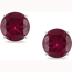 Miadora 10k White Gold Created Ruby Solitaire Earrings