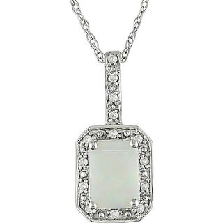 Miadora 10k White Gold Opal and Diamond Pendant