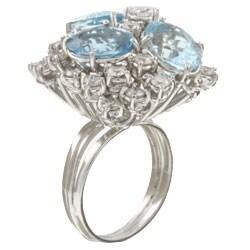 18k Gold Blue Topaz/ 3ct TDW Diamond Estate Ring (H, SI1) (Size 6.5)