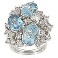 18k Gold Blue Topaz/ 3ct TDW Diamond Estate Ring (H, SI1) (Size 6.5)
