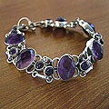 Silver Amethyst 'Royal Purple' Link Bracelet (India)