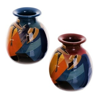 Set of 2 Ceramic 'Get-Together' Vases (Peru)